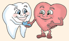 cartoon tooth and heart